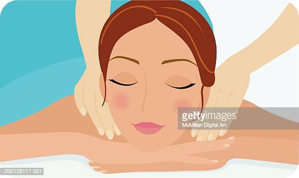 ilustrações de stock, clip art, desenhos animados e ícones de woman receiving shoulder massage, close-up - massagista