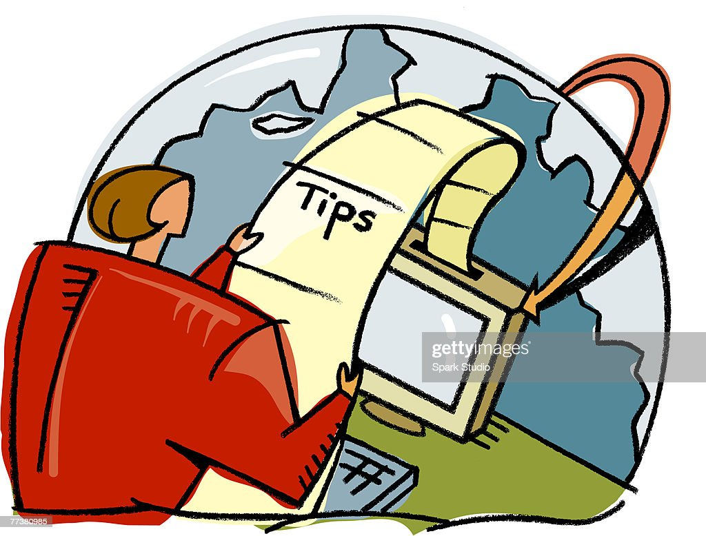 A woman receiving tips through a computer : Illustration
