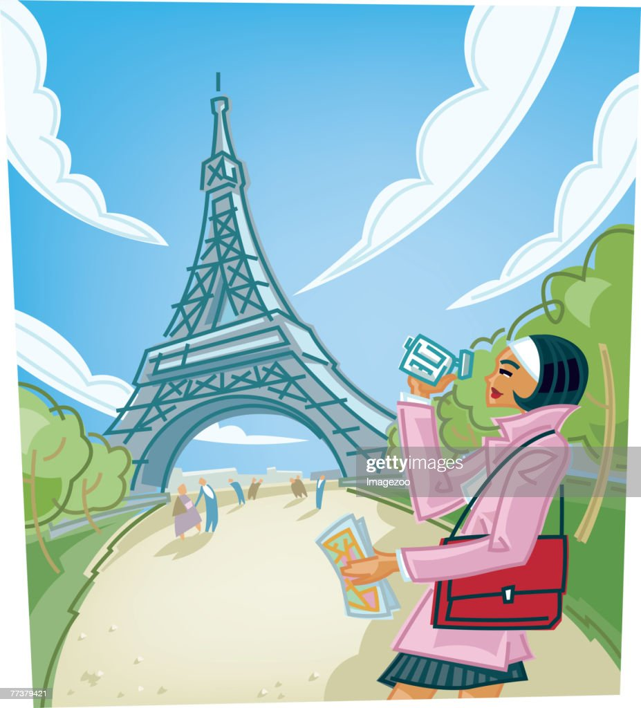 woman recording the eiffel tower with her digital camera : Illustration