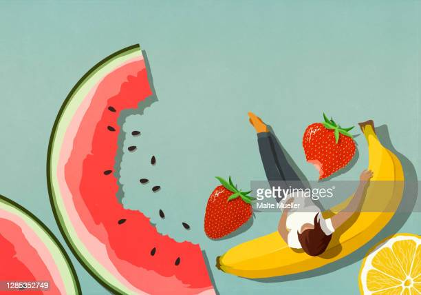 woman relaxing among fruit - scale stock illustrations