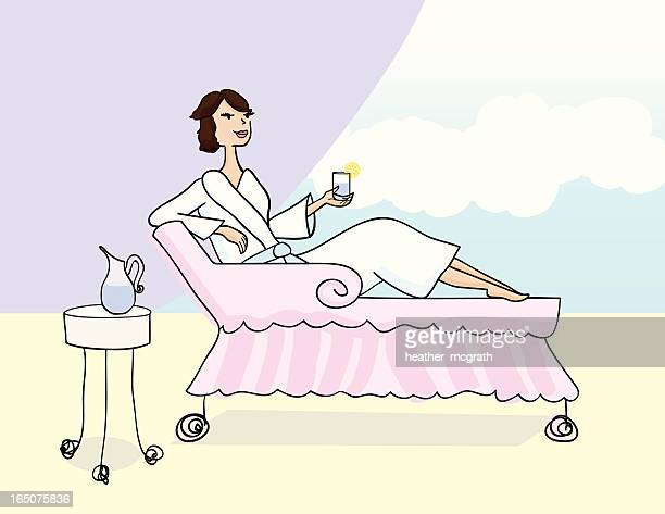 woman relaxing - health spa stock illustrations, clip art, cartoons, & icons