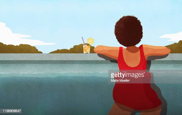 woman relaxing in swimming pool with cocktail - food and drink stock illustrations