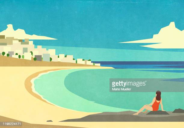 woman relaxing on sunny, idyllic summer ocean beach - carefree stock illustrations