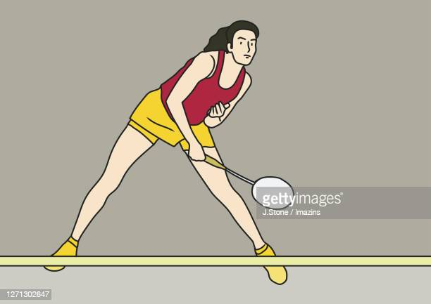 a woman returning a shuttlecock with a racket - badminton racket stock illustrations