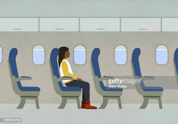 woman riding airplane alone - journey stock illustrations
