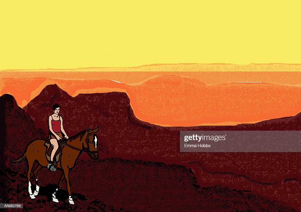 Woman Riding Horse Through Mountains At Sunset High Res Vector Graphic Getty Images