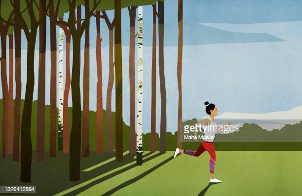 woman running in sunny rural field with trees - leisure activity stock illustrations