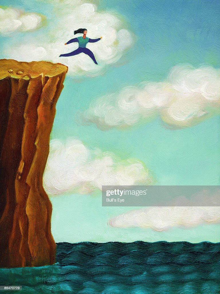 A woman running off a cliff into the sea : stock illustration
