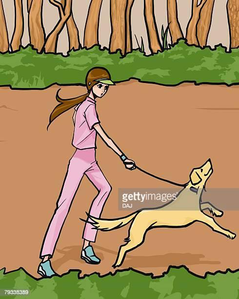 ilustraciones, imágenes clip art, dibujos animados e iconos de stock de woman running with a dog, side view, illustrative technique - mujeres de mediana edad