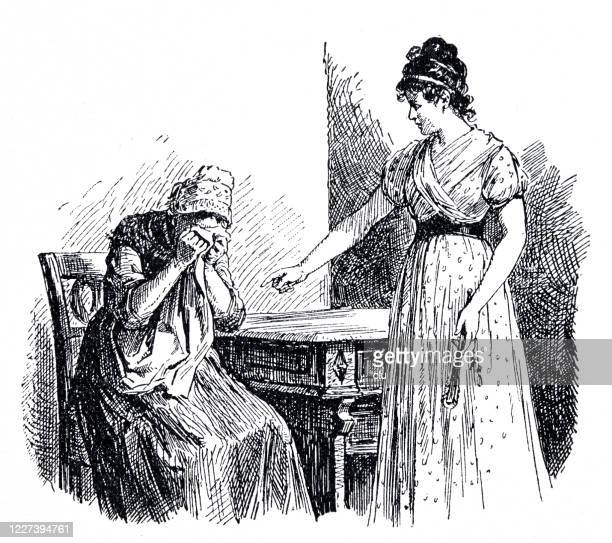 woman scolds a maid sitting at the table - penalty stock illustrations