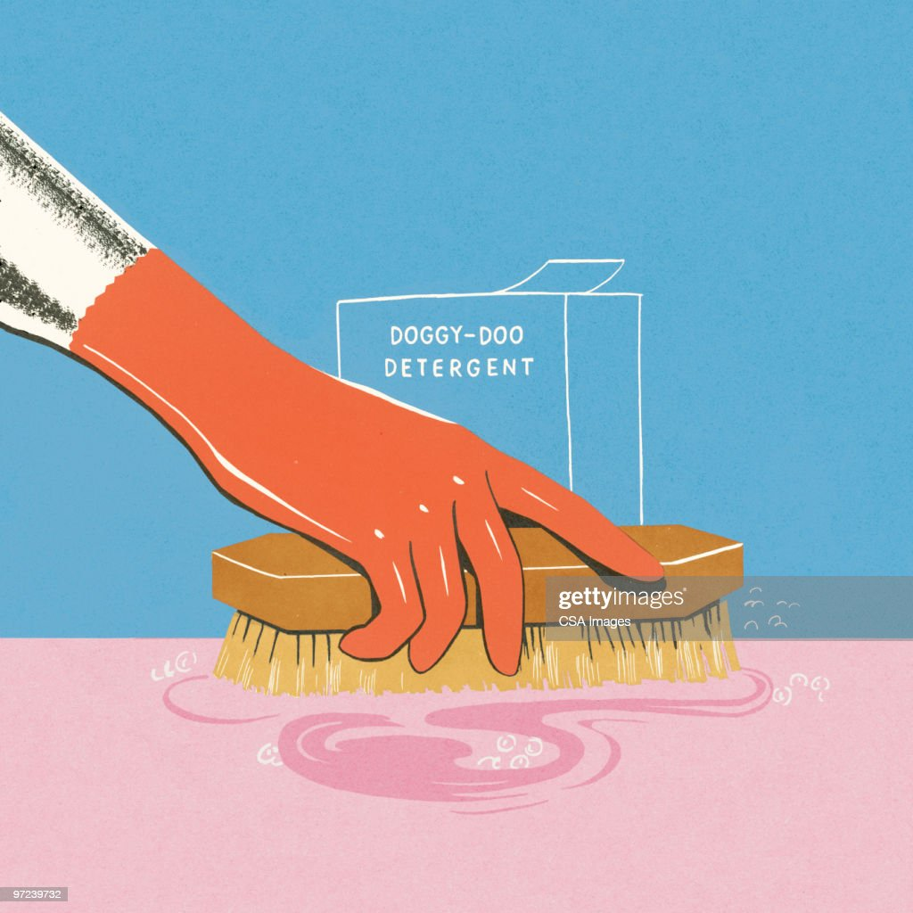 Woman Scrubbing with Doggy-Doo Detergent : Stock-Illustration