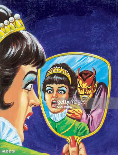 woman seeing devil in her mirror - queen royal person stock illustrations, clip art, cartoons, & icons
