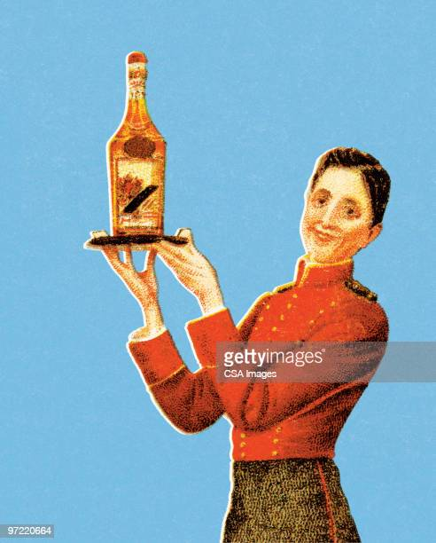 woman serving wine - wine stock illustrations