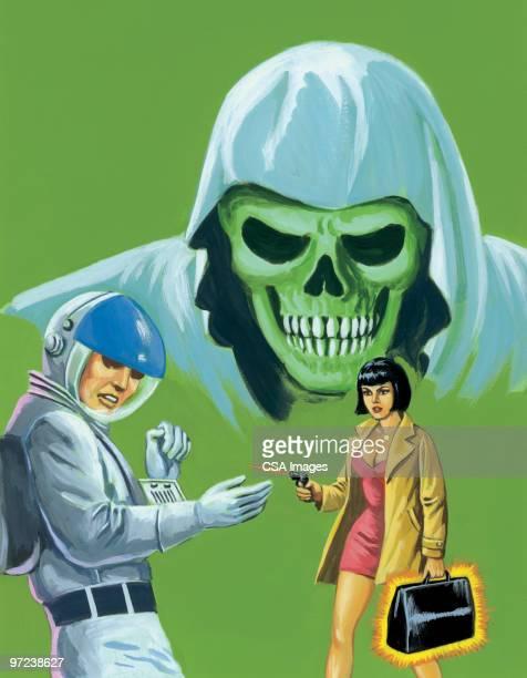 Woman Shooting Man in Spacesuit