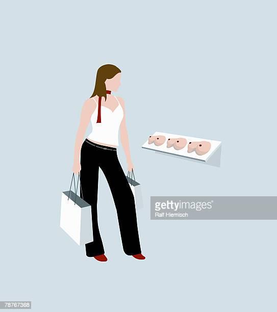 ilustraciones, imágenes clip art, dibujos animados e iconos de stock de a woman shopping - aumento de senos