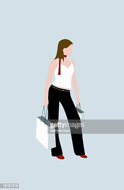 a woman shopping - consumerism stock illustrations