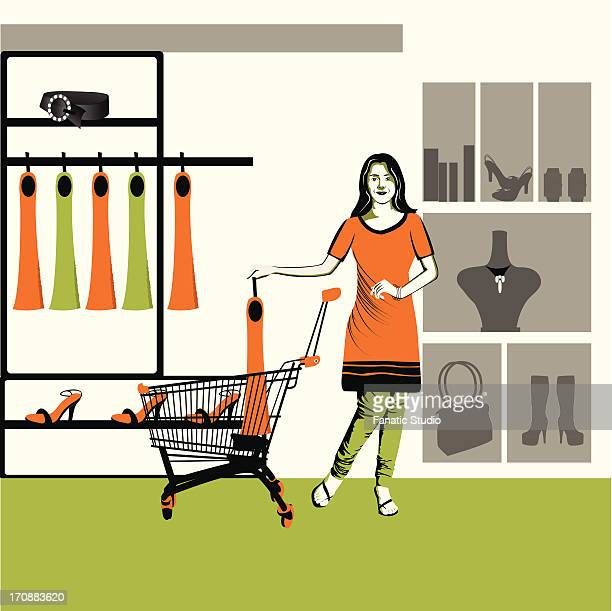 woman shopping in a store - sac stock illustrations, clip art, cartoons, & icons
