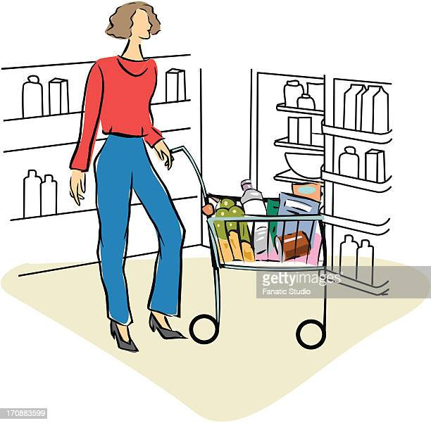 ilustrações, clipart, desenhos animados e ícones de woman shopping in a supermarket - portfolio