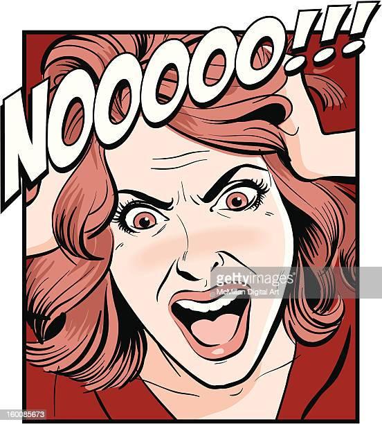 ilustraciones, imágenes clip art, dibujos animados e iconos de stock de woman shouting, pulling hair - tirarse de los pelos