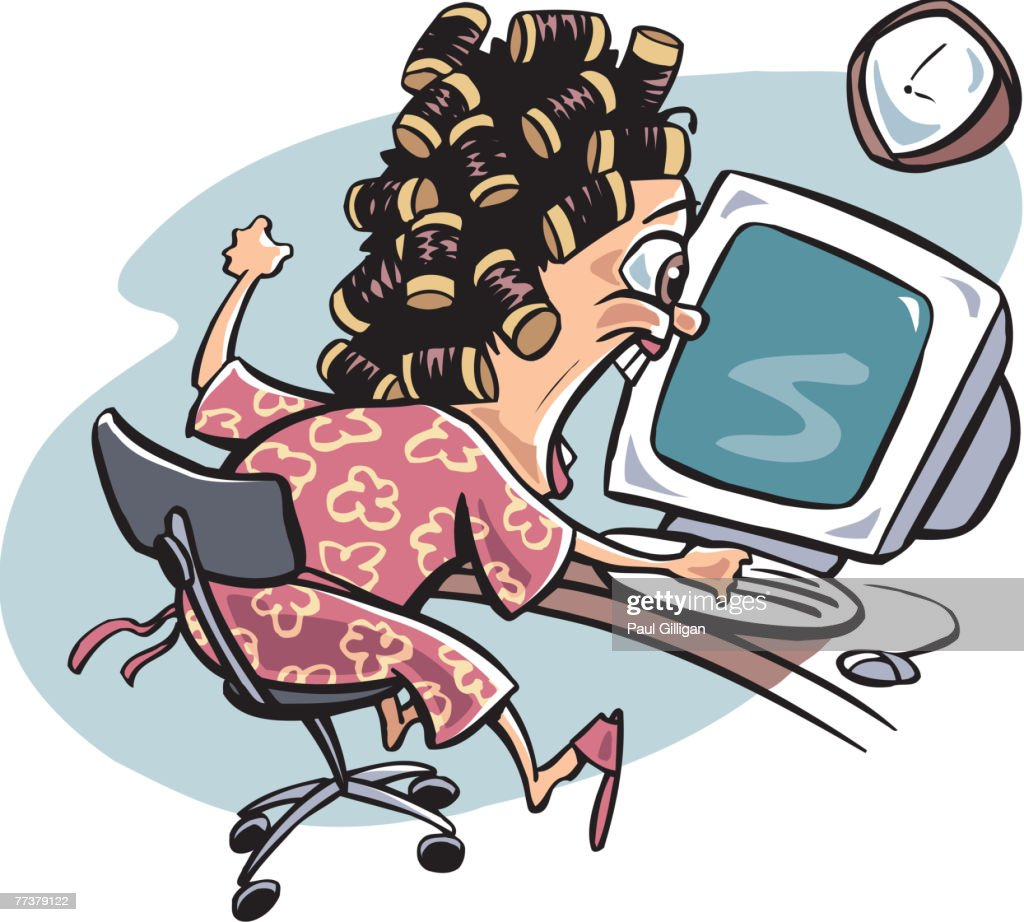 A woman showing frustration at her computer : Stock Illustration