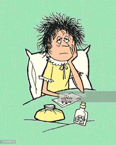 woman sick in bed - sick stock illustrations, clip art, cartoons, & icons