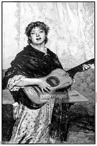 woman singing and playing in a street of naples - classical theater stock illustrations, clip art, cartoons, & icons