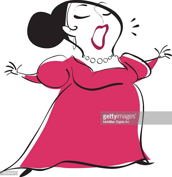 woman singing, arms outstretched - updo stock illustrations, clip art, cartoons, & icons