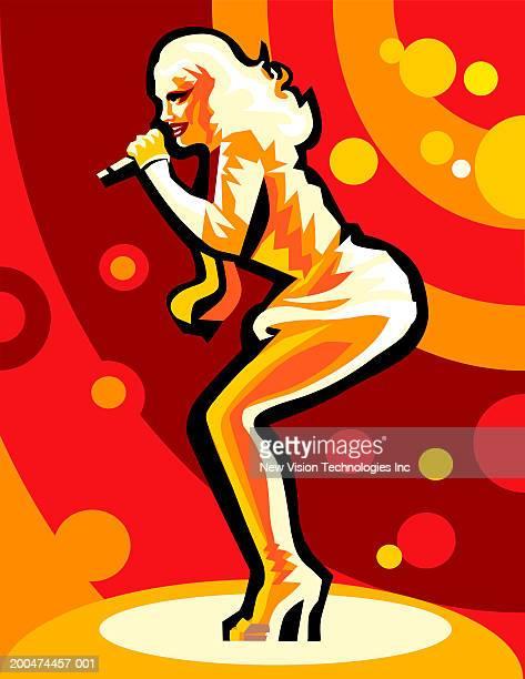 ilustraciones, imágenes clip art, dibujos animados e iconos de stock de woman singing into microphone, side view - mujeres de mediana edad