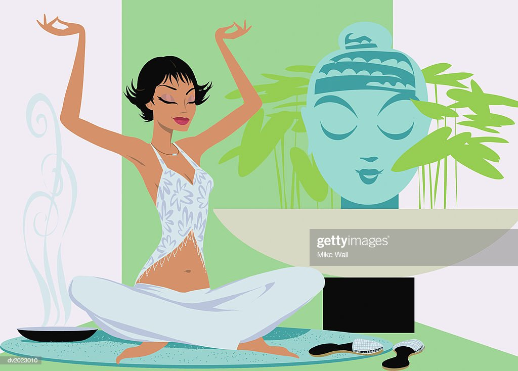 Woman Sits in The Lotus Position Practicing Yoga : Stock Illustration