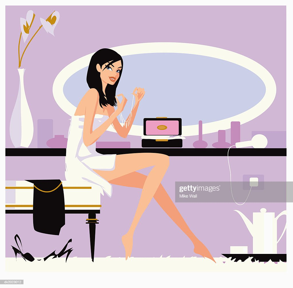 Woman Sits on a Stool Wrapped in a Towel Holding a Necklace : Stock Illustration