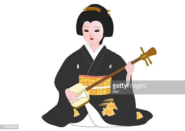 ilustrações de stock, clip art, desenhos animados e ícones de woman sitting and playing the shamisen in japanese style clothing, front view, japan - vangen