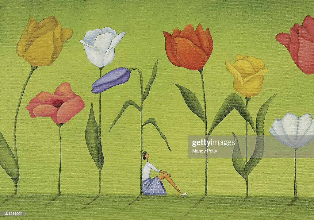 Woman Sitting Between Tall Flowers : Stock Illustration
