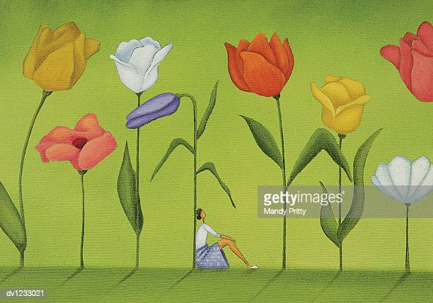 woman sitting between tall flowers - mandy pritty stock illustrations
