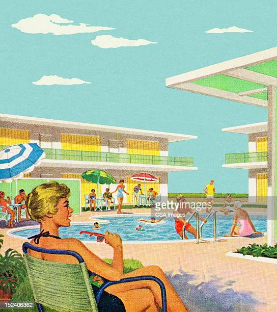 woman sitting by pool - one mid adult woman only stock illustrations