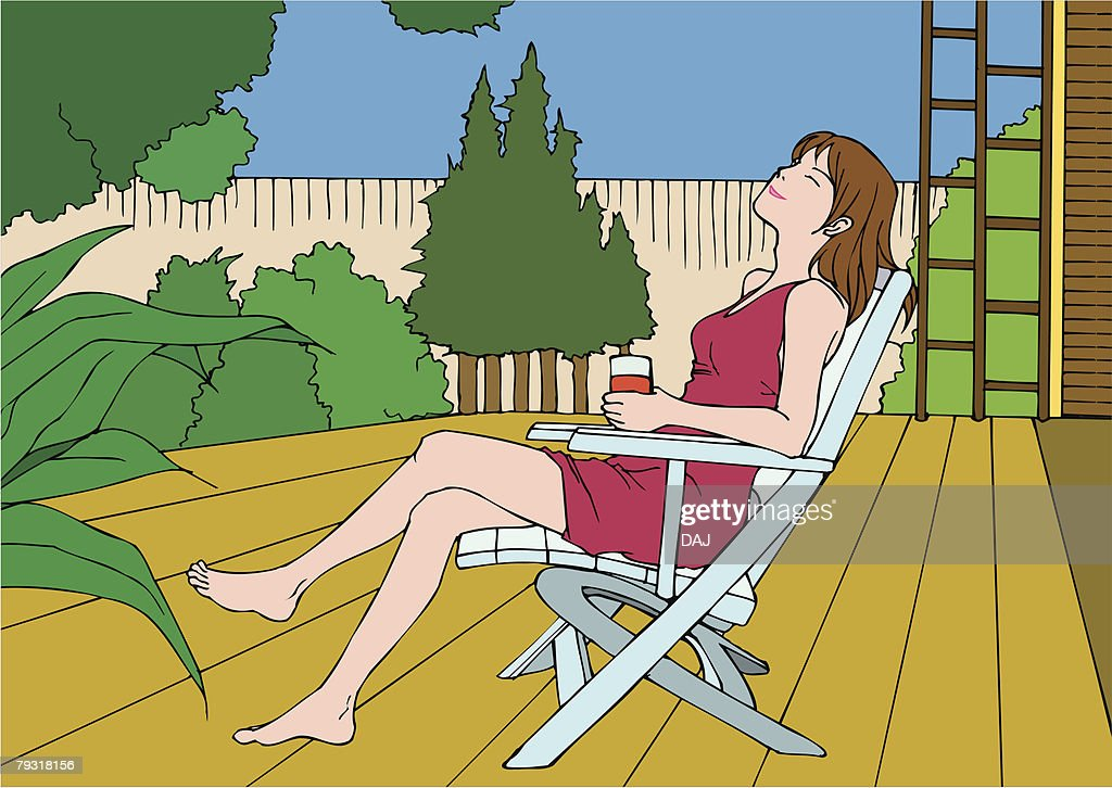 Woman sitting crossed leg at knee, closing eyes, side view : stock illustration