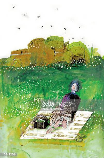 woman sitting in picnic park - picnic blanket stock illustrations, clip art, cartoons, & icons