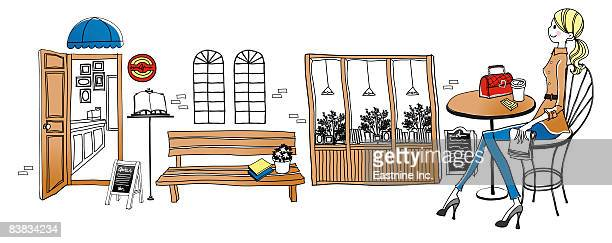 illustrations, cliparts, dessins animés et icônes de woman sitting in restaurant - pupitre à musique