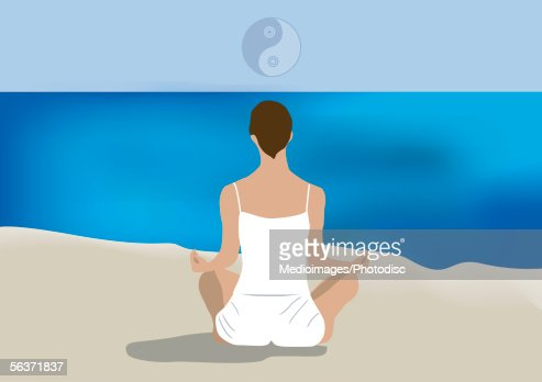 woman sitting lotus position rear view highres vector