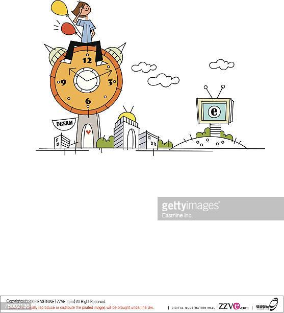 woman sitting on an alarm clock and looking up - television aerial stock illustrations, clip art, cartoons, & icons