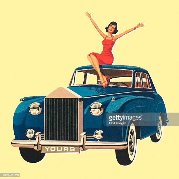 woman sitting on blue car - old car stock illustrations