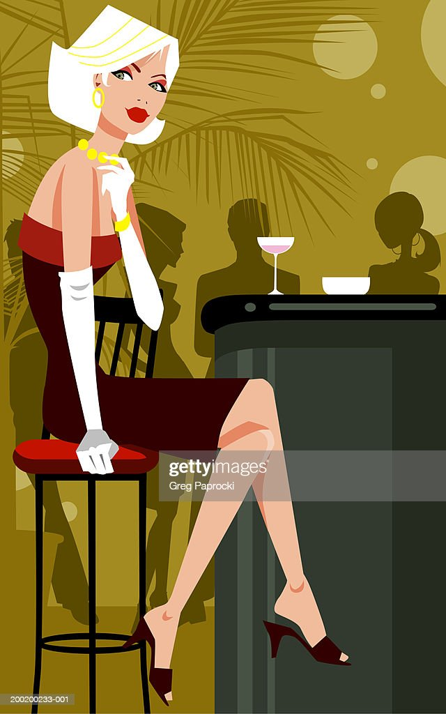 Woman sitting on stool at bar counter, legs crossed at knee : Stock Illustration