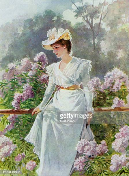 woman sitting thoughtful in garden 1900 - 1900 stock illustrations