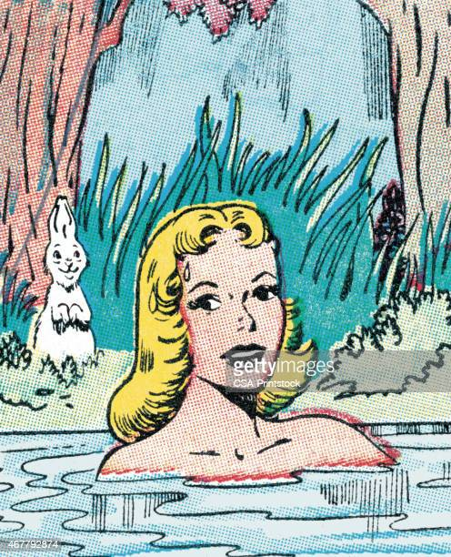 woman skinny dipping - skinny dipping stock illustrations