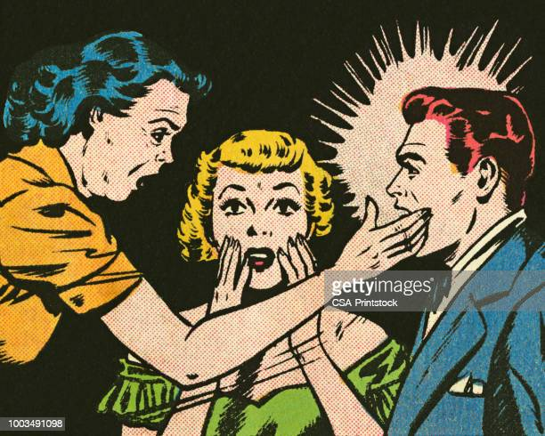 woman slapping a man - slapping stock illustrations