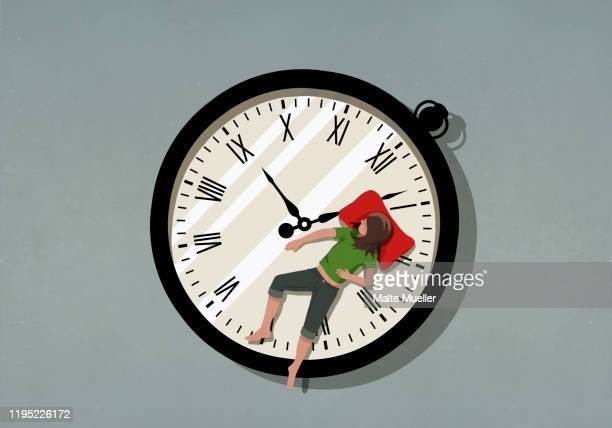 woman sleeping on pocket watch - sleeping stock illustrations