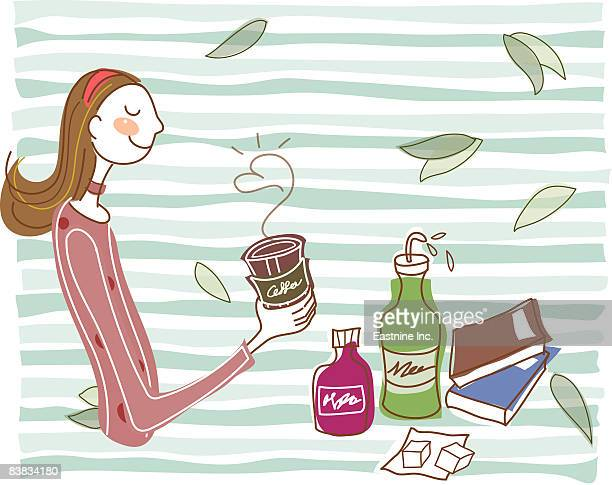 woman smelling coffee - sugar cube stock illustrations, clip art, cartoons, & icons