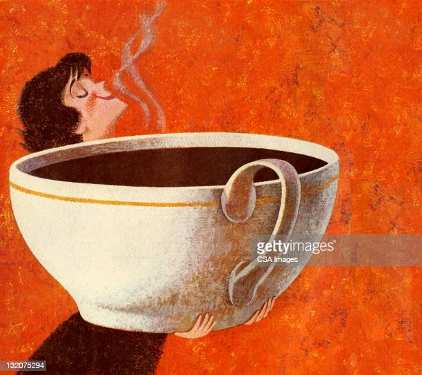 woman smelling giant cup of coffee - large stock illustrations