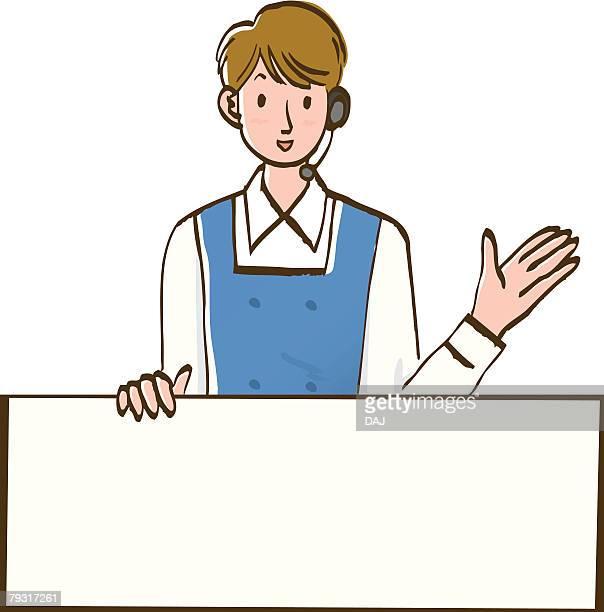 ilustraciones, imágenes clip art, dibujos animados e iconos de stock de woman smiling and holding white board, front view - mujeres de mediana edad