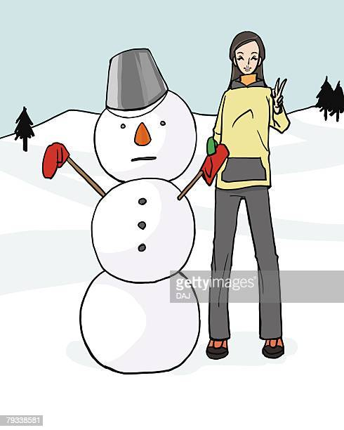 Woman smiling and standing next to a snowman, front view, Illustrative Technique
