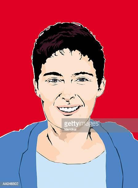 ilustraciones, imágenes clip art, dibujos animados e iconos de stock de woman smiling, portrait - mujeres de mediana edad